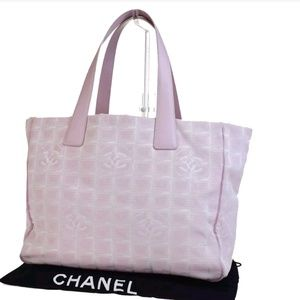 Auth chanel pink tote bag